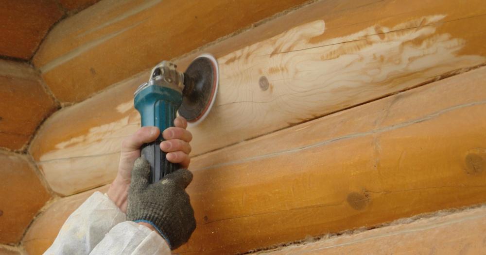 Шлифовка стен деревянных домов